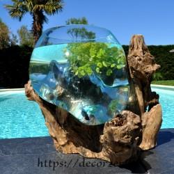 Vase, bol à punch ou aquarium en verre fondu soufflé en fusion sur du bois flotté, le vase est amovible