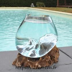 bol à cocktail ou  vase en verre recyclé soufflé en fusion sur du bois flotté, le vase est amovible pour le laver