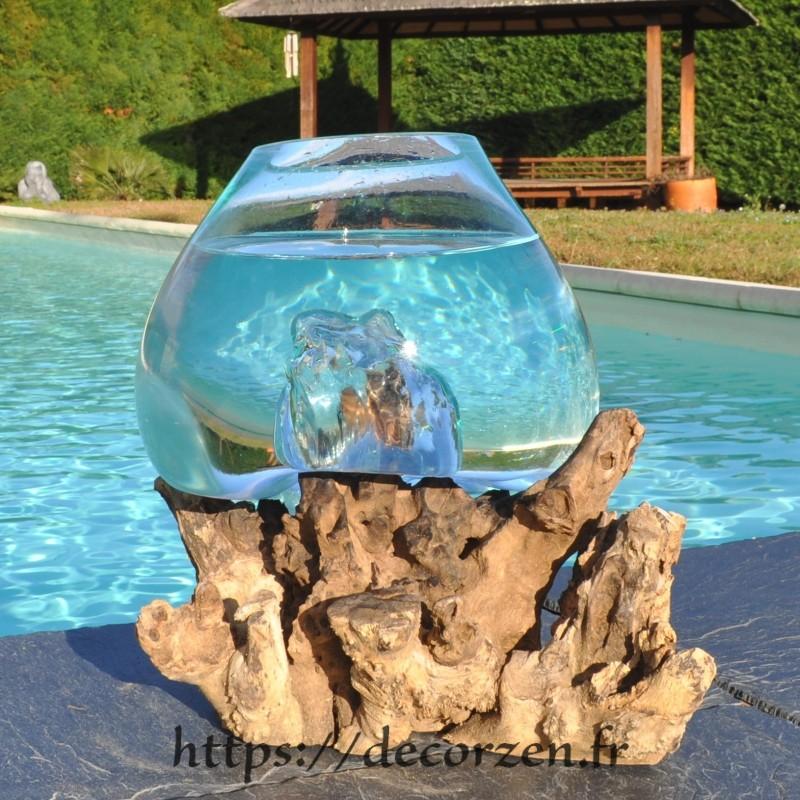 Aquarium ou  vase en verre recyclé soufflé à la bouche en fusion sur du bois flotté, le vase est amovible pour le laver