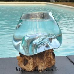 Verre à duo ou  vase en verre recyclé soufflé sur du bois flotté, le vase est amovible pour le lavage