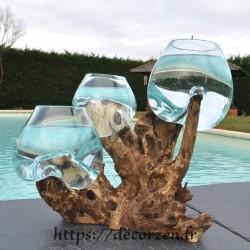 3 vases en verre recyclé soufflés en fusion directement sur du bois flotté