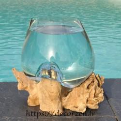 Verre à cocktail ou  vase en verre recyclé soufflé en fusion sur du bois flotté, le vase est amovible pour un lavage aisé