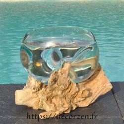 Terrarium, panière à pain ou saladier à apéro en verre recyclé soufflé en fusion sur du bois flotté.
