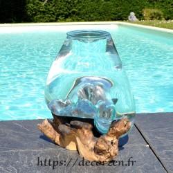 Verre à punch ou  vase en verre recyclé soufflé en fusion sur du bois flotté, le vase est amovible un lavage aisé