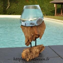 Bol à duo ou gros vase en verre soufflé et coulé en fusion sur le bois, le verre est amovible