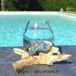 Verre à duo ou  vase en verre recyclé soufflé sur du bois flotté, le verre est amovible pour le laver