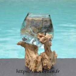 Verre à cocktail ou  vase en verre recyclé soufflé à la bouche en fusion sur du bois flotté, le vase est amovible pour le laver