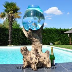 Vase, bol à punch ou aquarium en verre soufflé moulé en fusion sur du bois de teck flotté