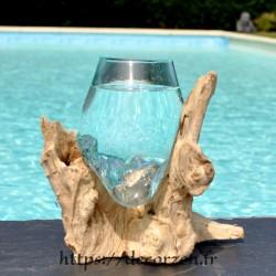 Verre à cocktail ou  vase en verre recyclé soufflé à la bouche en fusion sur du bois flotté, le vase est amovible pour le lavage