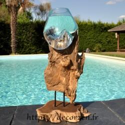 Aquarium ou gros vase en verre soufflé et coulé en fusion sur le bois flotté, le verre est amovible