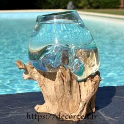 Verre à cocktail ou  vase en verre recyclé soufflé en fusion sur du bois flotté, le vase est amovible pour le lavage