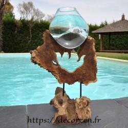 Aquarium ou gros en verre soufflé et moulé en fusion sur le bois, le verre est amovible