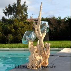 Double vase en verre recyclé soufflé sur du  bois flotté