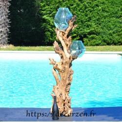 Aquarium en verre soufflé sur bois de teck KS182.013
