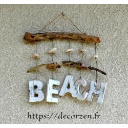 Beach, décoration murale en bois flotté