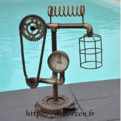 Lampe fer et acier en pièces recyclées SG191010