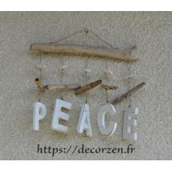 Peace, décoration murale en bois flotté