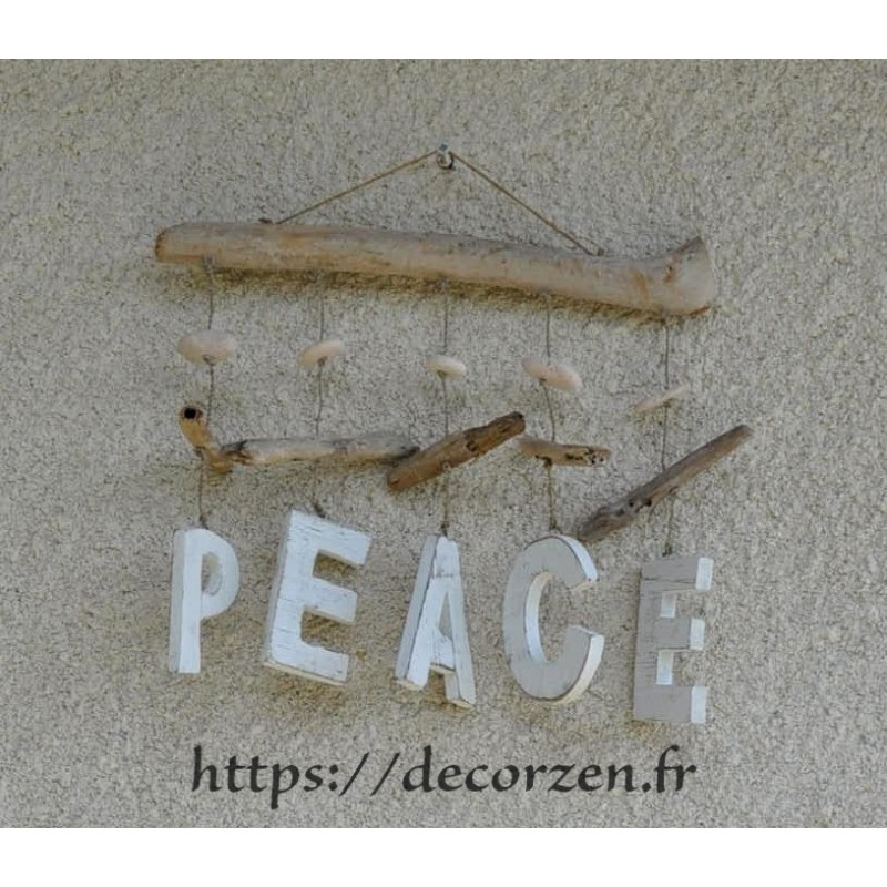 d coration murale en bois flott peace. Black Bedroom Furniture Sets. Home Design Ideas
