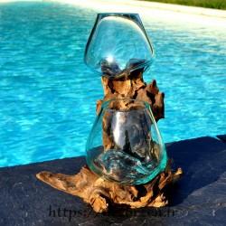 2 vase en verre recyclé soufflé en fusion directement sur du bois flotté
