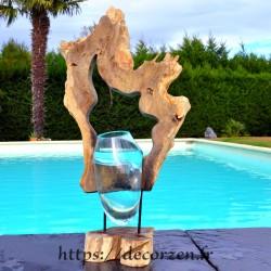 2 Vases ou aquarium en verre soufflé et moulé dans le trou du rondin de teck, le verre est amovible