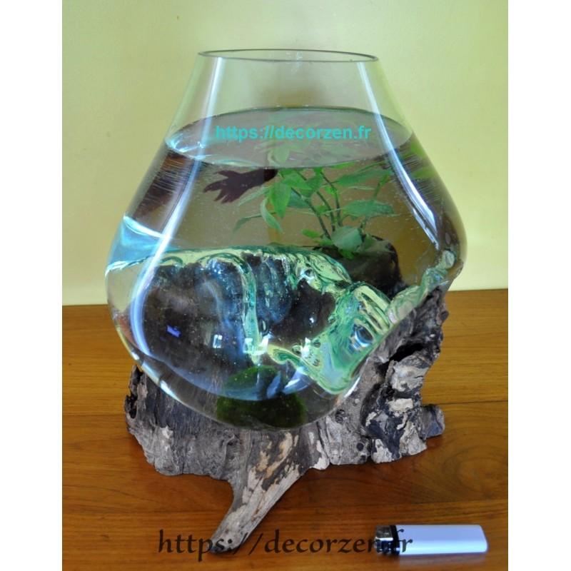 verre recyclé et soufflé sur bois flotté (Teck)