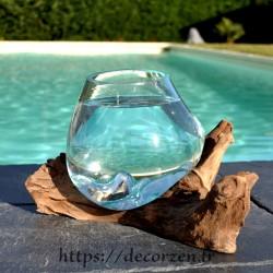 Petit aquarium ou  vase en verre recyclé soufflé à la bouche en fusion sur du bois flotté, le vase est amovible