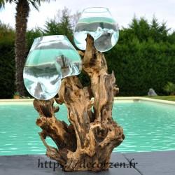 aquariums en verre recyclé soufflé sur le bois