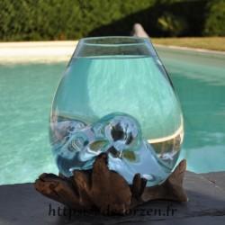 Petit aquarium ou vase en verre recyclé fondu et soufflé en fusion sur du bois, le verre est amovible