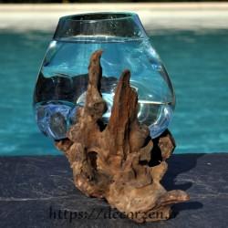 Petit aquarium ou  vase en verre recyclé soufflé en fusion sur du bois, le vase est amovible
