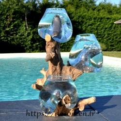 Trois petits aquariums ou vases en verre soufflé sur une seule racine TRP193.008
