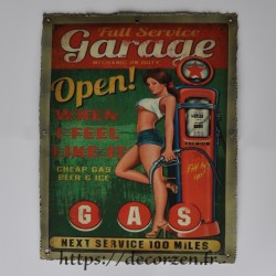 Cadre métal vintage station essence CDR201.001