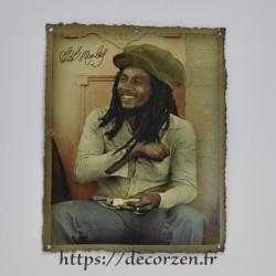 Cadre métal vintage Bob Marley, affiche vintage, années 50, années 40, fifties, vieille affiche, néo rétro