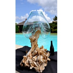 Gros aquarium en verre souffle sur une racine de Teck
