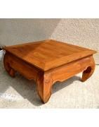 Mobilier en bois, tables, tables basses, pot, étagères